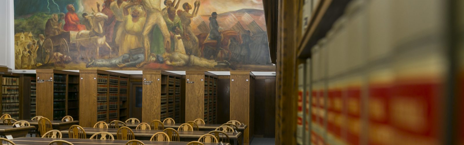 Old Reading Room with mural in background.