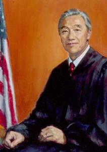 Painting of Herbert Choy, wearing black judicial robes in front of an orange background.